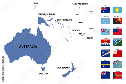 Photo oceania map and flags