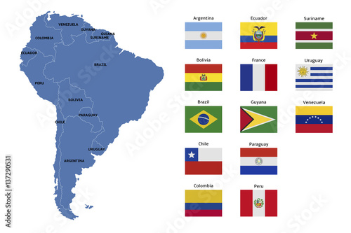 south america map and flags Canvas Print