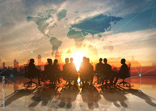 Fotografie, Obraz  World Management Team in office silhouette
