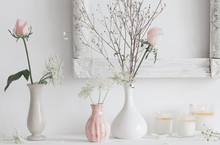 Flowers In A Vase And Candles ...