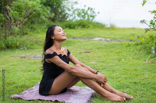 Young girl outdoors in free spirit concept Poster