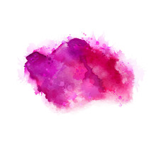 Geranium, Hot Pink And Magenta Watercolor Stains. Bright Color Element For Abstract Artistic Painting Background