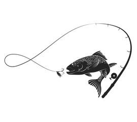 Silueta ribe i štapa