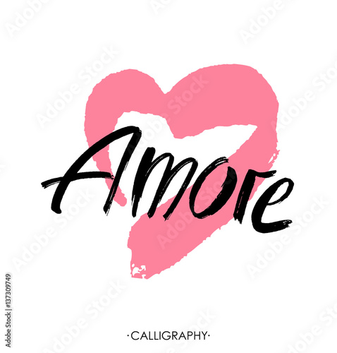 Amore - hand drawn lettering word with pink heart Wallpaper Mural