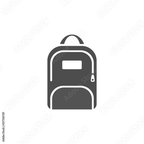 Obraz Dark backpack icon on a white background - fototapety do salonu
