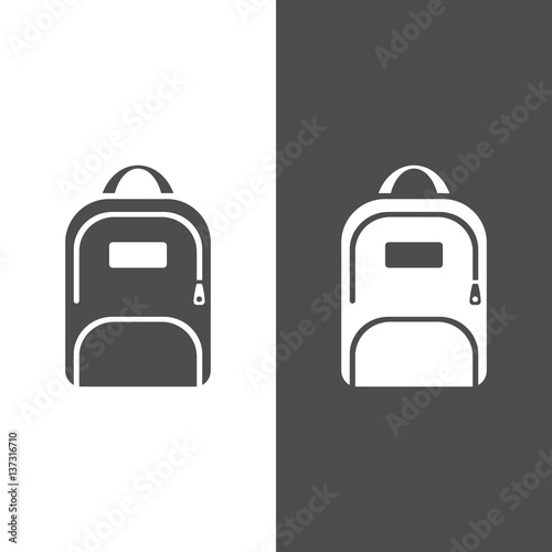 Backpack icon on a dark and white background Canvas Print