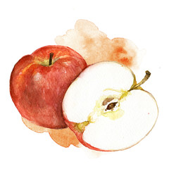Hand painted watercolor illustration of red apple with artistic stain in the background
