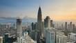 Footage of Kuala Lumpur skyline during sunrise