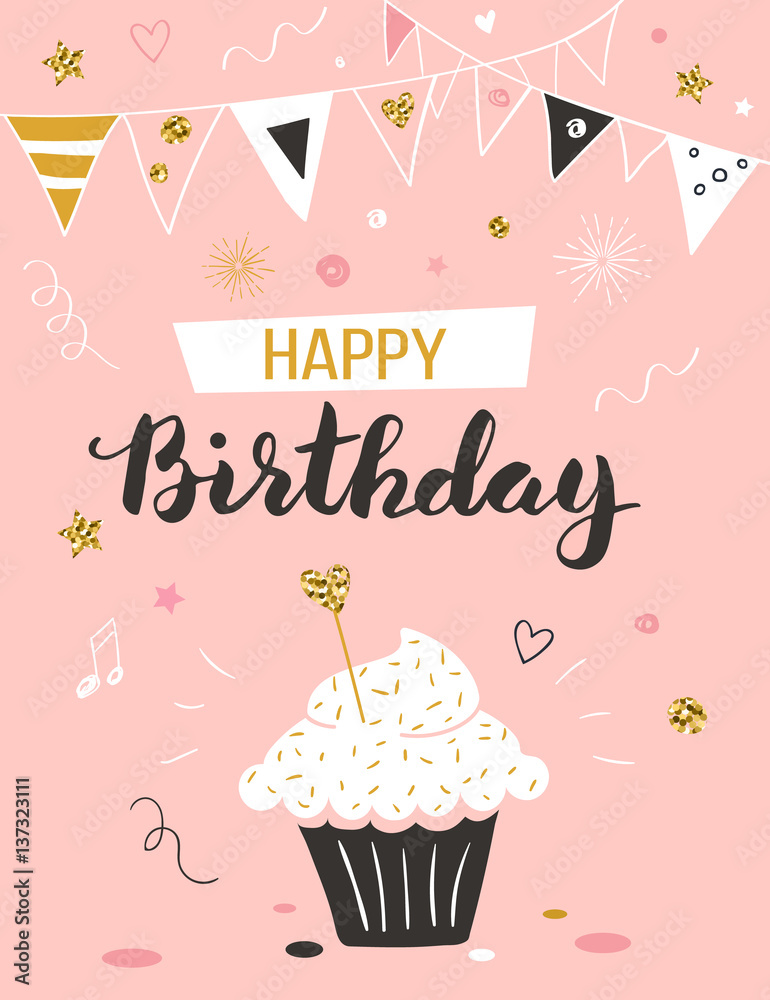 Happy Birthday Greeting Card With Cupcake And Text Foto Poster Wandbilder Bei EuroPosters