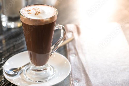 Foto auf Gartenposter Schokolade Hot chocolate with whipped cream