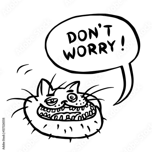 Photo  Don't Worry! Cartoon Cat Head. Vector Illustration