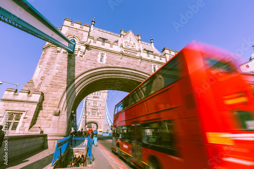 Blurred red bus on Tower Bridge in London Canvas Print