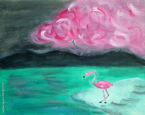 obraz-olejny-samotny-rozowy-flaming-na-brzegu