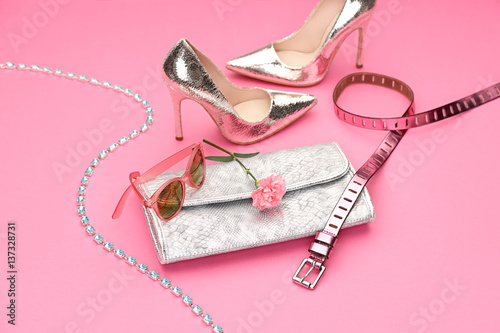 18a47a9120b7 Clothes Design,Accessories fashion Set. Luxury Outfit. Stylish woman Handbag  clutch