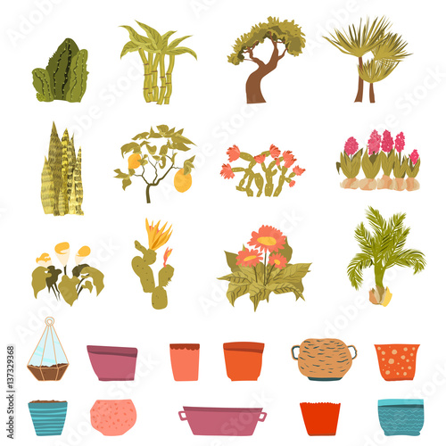 Set Of Green House Plants With Pots With Leaf And Flowers In Cartoon Style Flowerpot Isolated Objects For Creation Unique Houseplants Collection Buy This Stock Vector And Explore Similar Vectors At