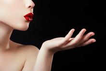 Beautiful Young Woman Blowing ...