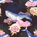 Abstrakcyjny wzór z wielorybami - 137330793