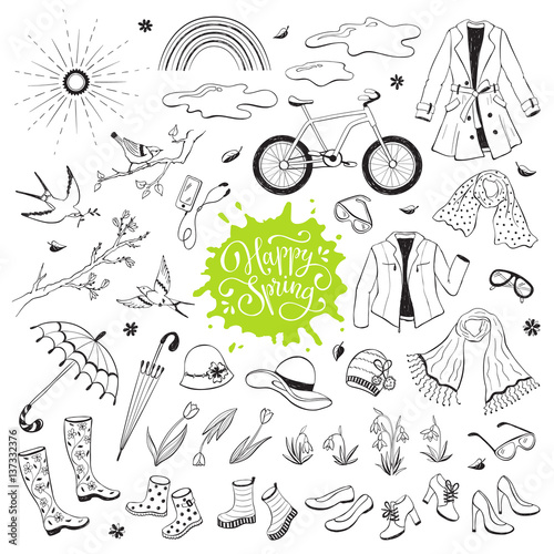 In de dag Boho Stijl Hand drawn spring objects set. Collection of spring accessories isolated on white background. Monochrome illustrations for coloring books.