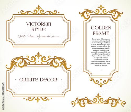 Slika na platnu Vector set frames, vignette in Victorian style.