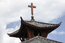 Christianity In China, Traditional Roof With Cross