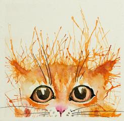 Panel Szklany Do pokoju dziecka Watercolour cats.