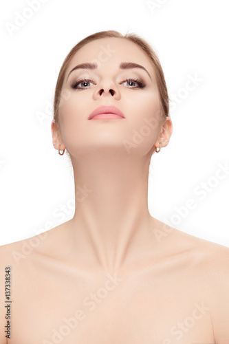 Canvas Print portrait of female neck on white background closeup. girl with c