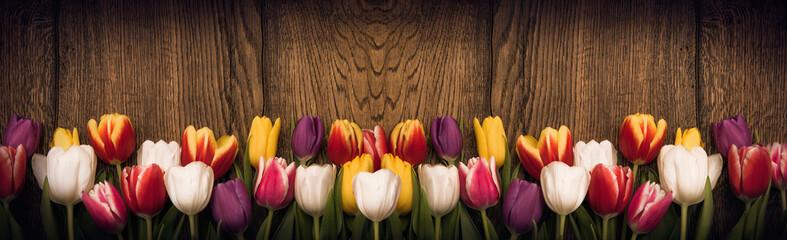 Fototapeta Vintage Spring tulips on wooden background