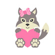 cute wolf wih bow and heart vector