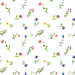 Fototapeta seamless pattern with watercolor doodle plants and flowers