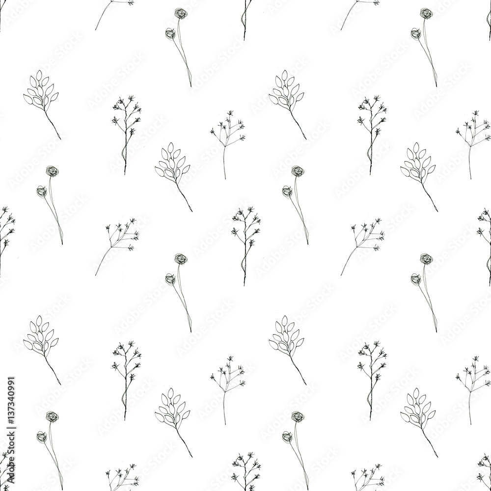 Seamless floral with abstract black and white flowers