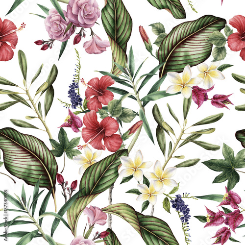 Seamless tropical flower pattern, watercolor. Fototapeta