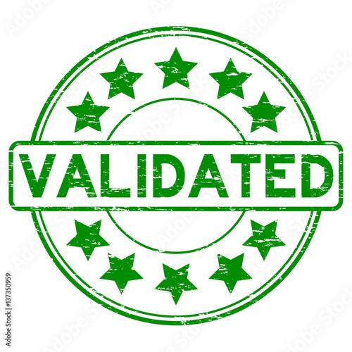 Grunge Green Validate With Star Icon Round Rubber Stamp
