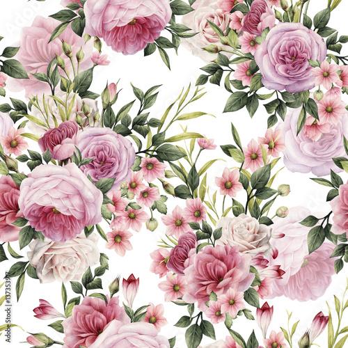 kwiatowy-wzor-z-rozami-akwarela