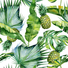 Seamless watercolor illustration of tropical leaves and pineapple, dense jungle. Pattern with tropic summertime motif may be used as background texture, wrapping paper, textile,wallpaper design.