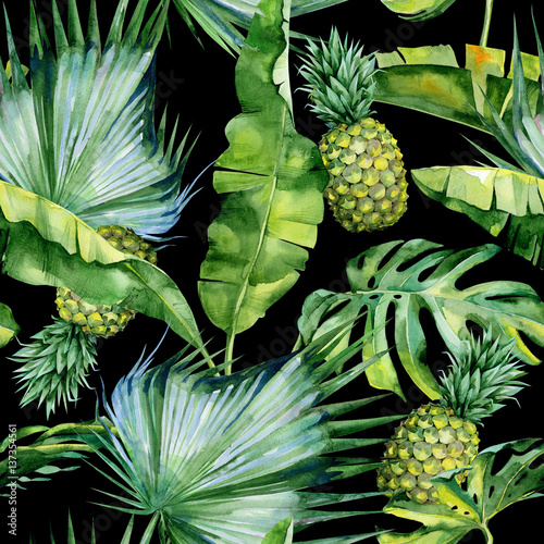 Fotografie, Obraz  Seamless watercolor illustration of tropical leaves and pineapple, dense jungle