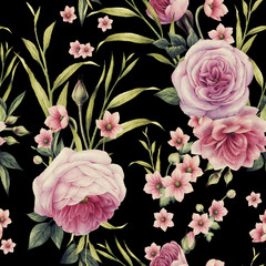 Obraz na SzkleSeamless floral pattern with roses, watercolor.