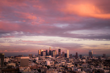 Skyline And City At Sunset, Los Angeles, California, United States Of America