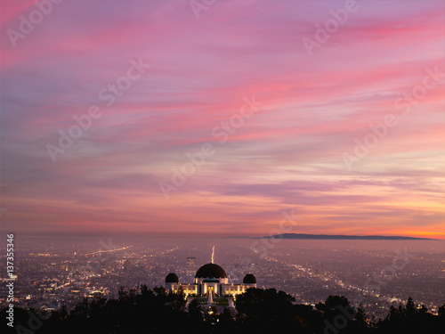 Candy pink Illuminated city at sunset, Los Angeles, California, United States of America
