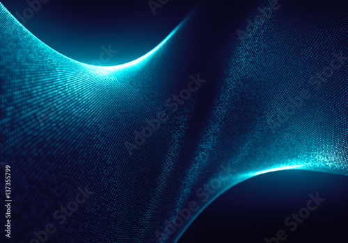 Abstract Blue Particles Background with the Depth of Field and Glow