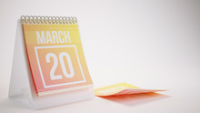 3D Rendering Trendy Colors Calendar On White Background - March 20