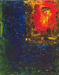 Dark abstract interior oil painting
