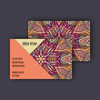 Vector Business card Design Template with Ornamental geometric mandala pattern. Vintage decorative elements. Hand drawn tile background.