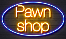 Pawn Shop Neon Sign On Brick W...
