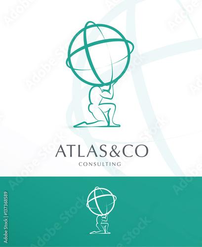 Fotomural PREMIUM CORPORATE VECTOR LOGO / ICON DESIGN , ATLAS HOLDING THE WORLD