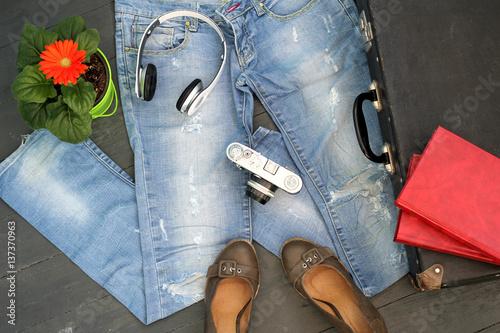 Fotografie, Obraz  Натюрморт: мода, тренд, стильный образ, красота, бренд, одежда, предметы для дев