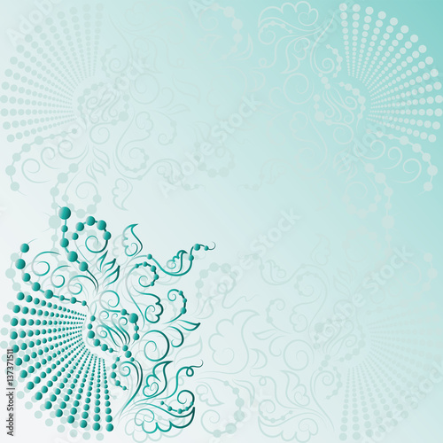 Abstract Floral Composition Design For Greeting Card Happy