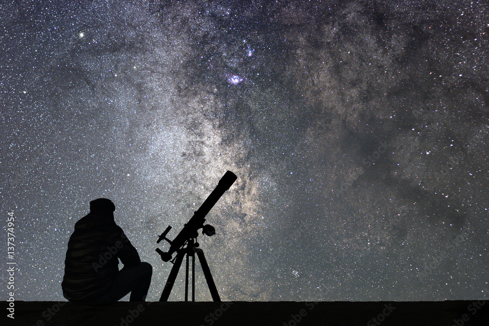 Fototapety, obrazy: Man with astronomy  telescope looking at the stars.