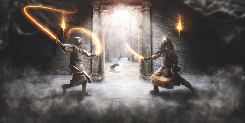 Combat between two fantasy ...