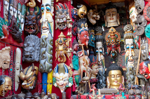 Wall Murals Nepal Wooden masks and handicrafts on sale in Bhaktapur, Nepal