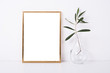 canvas print picture - Golden frame mock-up on white wall